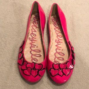 Betseyville Bright Pink Heart Trimmed Flats - Sz 9